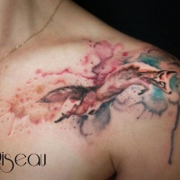 Watercolor style colored shoulder tattoo of jumping fox