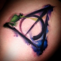 Watercolor style colored tattoo of mystical symbol