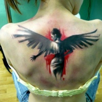 Watercolor woman with wings tattoo on back