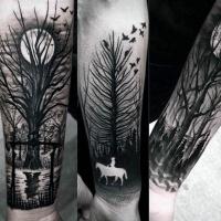 Tatuaje En El Antebrazo Caballero A Caballo En El Bosque Oscuro