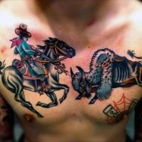 tema occidentale lotta  colorato cowboy con toro tatuaggio su petto