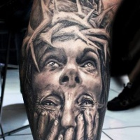 Wonderful idea of jesus tattoo on leg