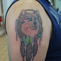 Indian dreamcatcher with wolf tattoo