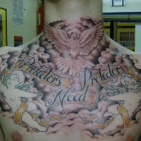 Womderful dove in sky with angels chest and throat tattoo