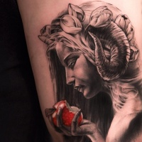 Wonderful 3D style colored devil woman portrait with red apple tattoo