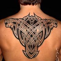 bellissimo nodo celtico nero tatuaggio sulla schiena
