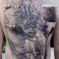 Wonderful black gray crucified jesus tattoo on whole back