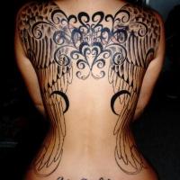 Wonderful black wings tattoo on back for women