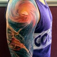 eccezionale colorato spazio profondo tatuaggio a mezza manica