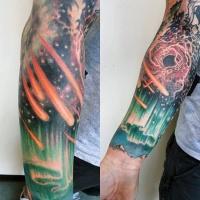 eccezionale colorato spazio profondo tatuaggio avambraccio