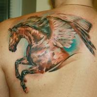 meraviglioso pegasus cavallo scuro tatuaggio sulla scapola