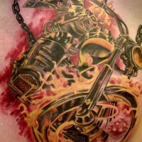 Wonderful coloured skeleton biker tattoo