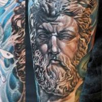 meraviglioso dettagliato bianco e nero Poseidone statua tatuaggio su gamba