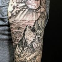 eccezionale mondo di  fantasia nero e bianco montagna a mezza manica tatuaggio