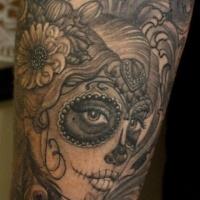 Wonderful gray ink santa muerte girl tattoo