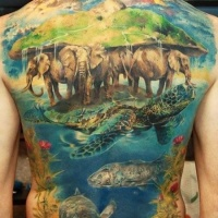 Wonderful great animal tattoo on whole back