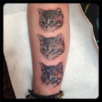 Wonderful lifelike colored arm tattoo of kittens portraits