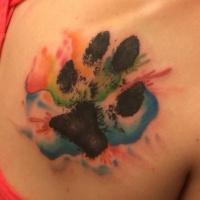 eccezionale piccolo inchiostro nero impronto di animale tatuaggio su spalla