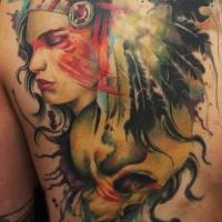 Wonderful native american girl with skull tattoo