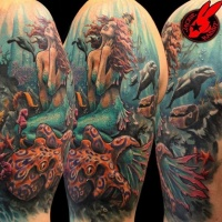 Wonderful pained and colored realistic underwater life with mermaid half sleeve tattoo