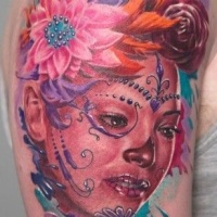 Wonderful santa muerte geisha tattoo in pink color