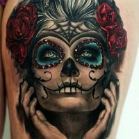 Wonderful santa muerte girl tattoo