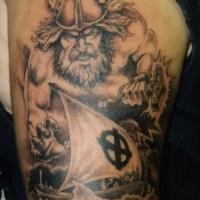 Wonderful viking thor tattoo