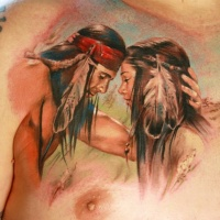 Wonderful warercolor portrait of a loving of native americans tattoo