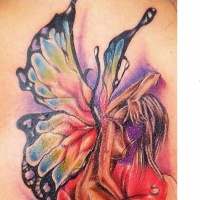 Wonderful watercolor fairy tattoo
