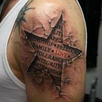 Words under skin rip tattoo on shoulder