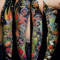 World of space and aliens tattoo on full sleeve