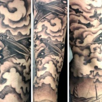 WW2 themed colored sleeve tattoo of military planes in sky