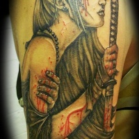05005edfa Young Asian girl warrior with bloody wounds and sword tattoo on shoulder