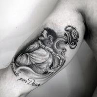 simbolo zodiacale a tema tenera  padre e figlio nero e bianco tatuaggio su braccio