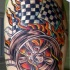 Wheels on fire racing tattoo