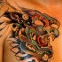 Asian mythical lion tattoo in colour