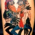 Rolling stones as cartoon crows tattoo