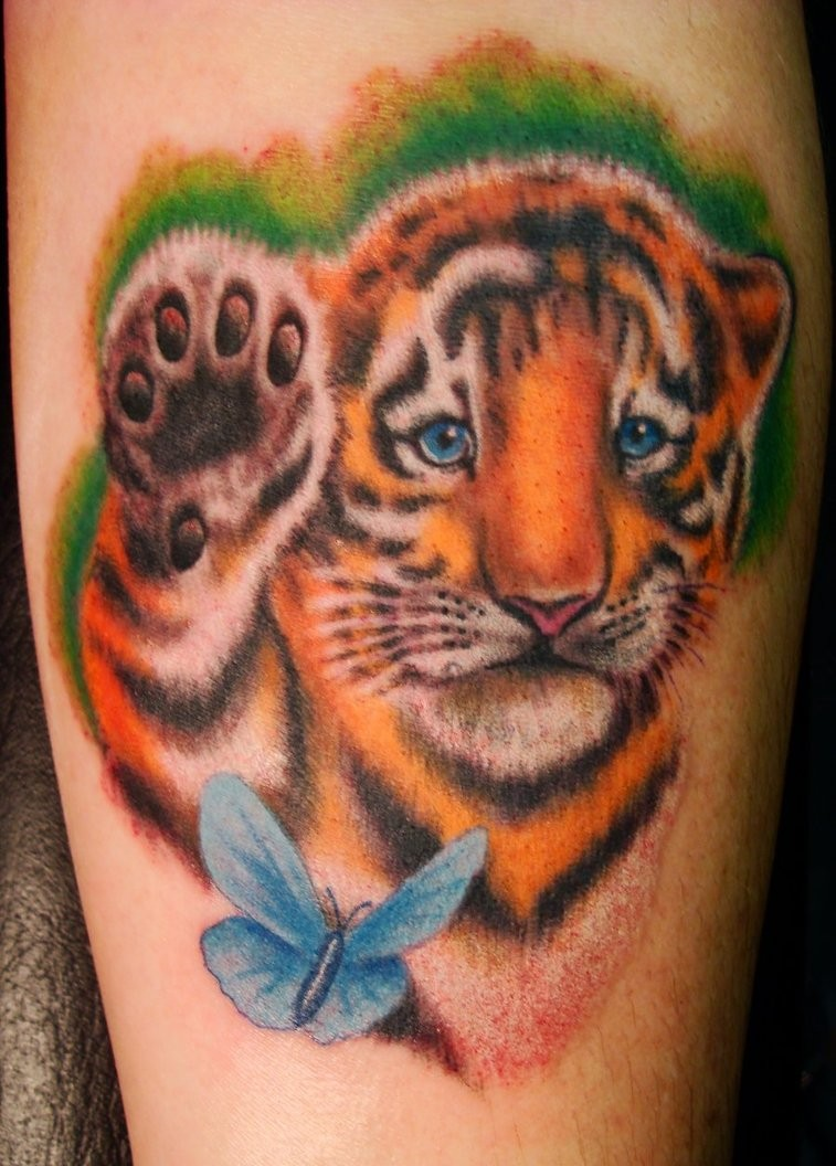 Tiger cub with butterfly in color tattoo