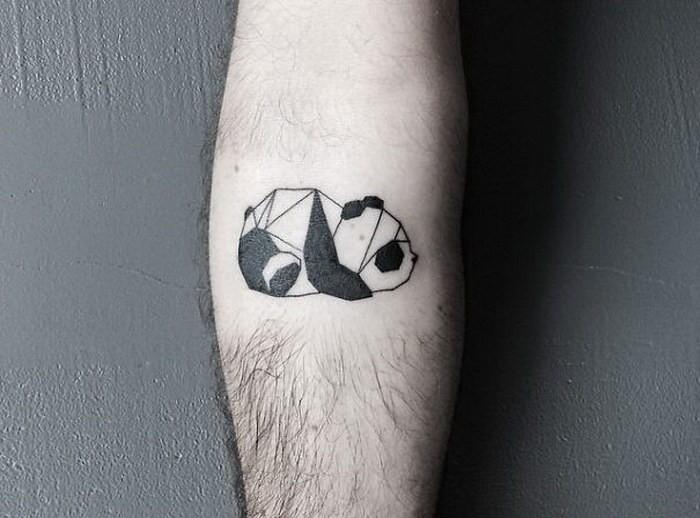 Tine black ink tattoo of panda bear