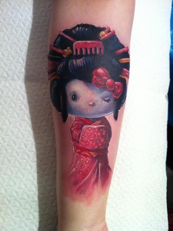 Tiny 3D colored forearm tattoo of cute geisha doll