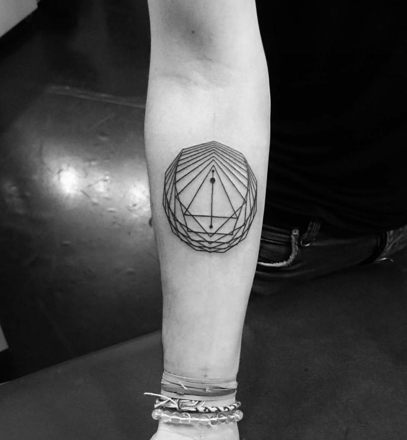 Tiny black ink forearm tattoo of geometrical symbol