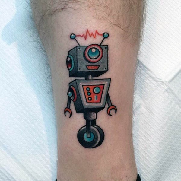 Tiny colored funny robot tattoo on ankle