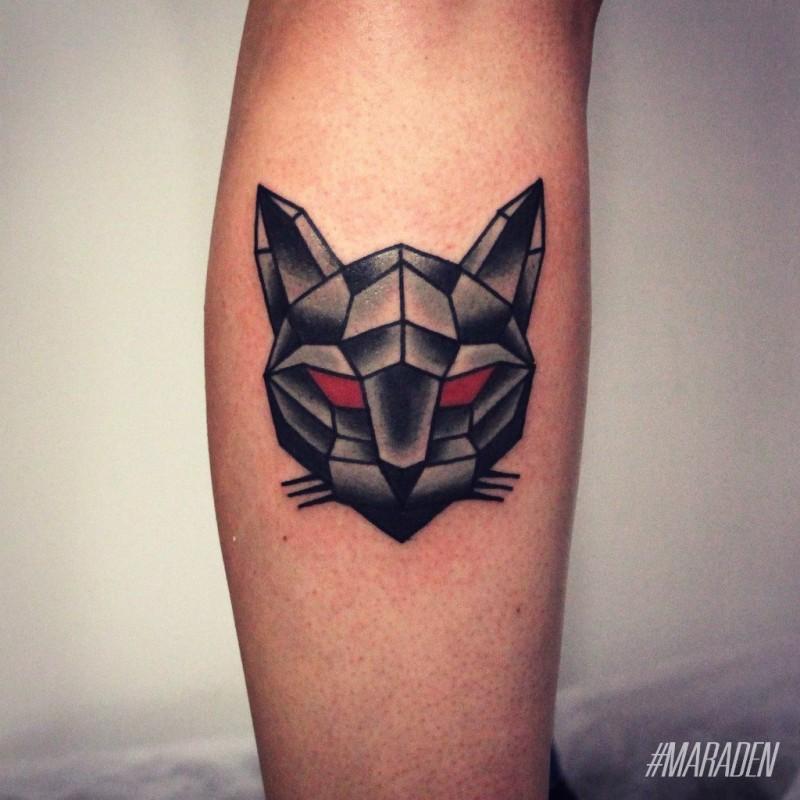 Tiny colored leg tattoo of geometrical demonic cat