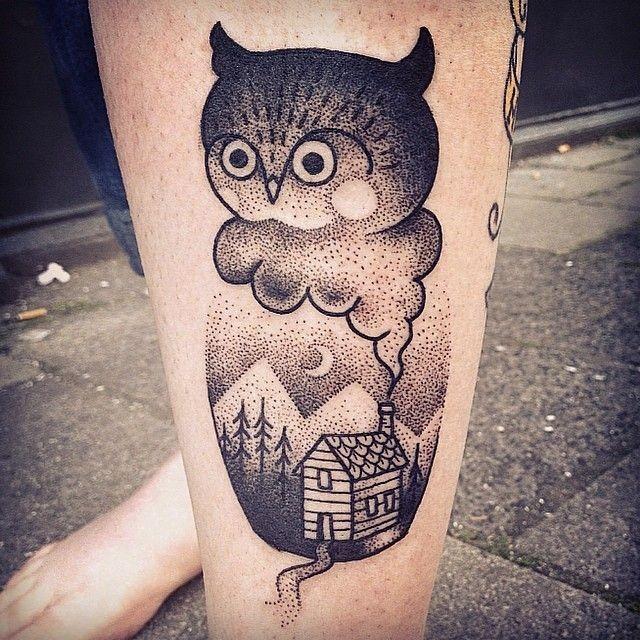 Tiny strange black ink leg tattoo of owl and night house