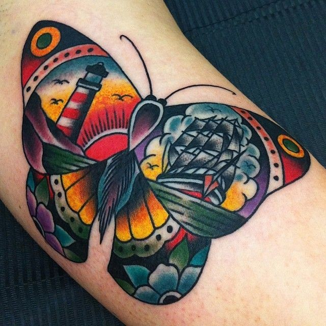 Town traditional butterfly tattoo design idea