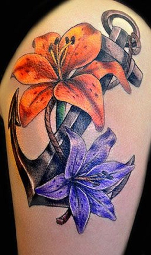 Traditional anchor and flowers tattoo for Anchor with flowers tattoo