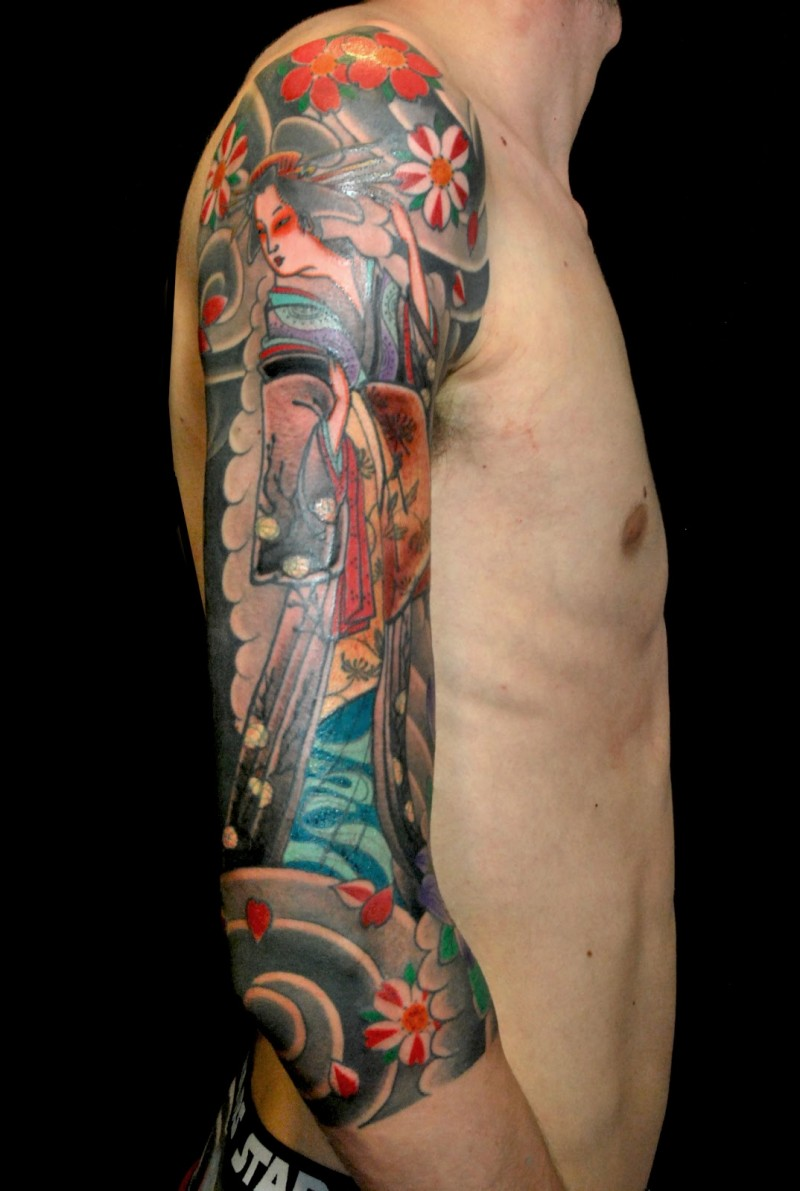 Traditional Asian style colored half sleeve tattoo of geisha with flowers and fog