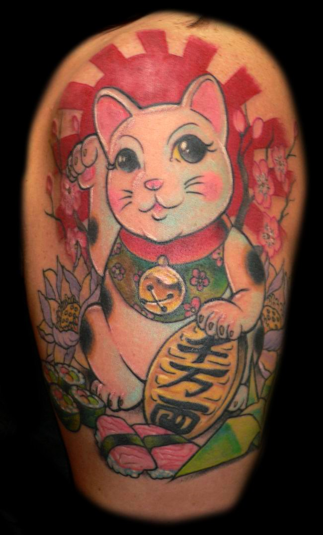 Traditional japanese cat tattoo