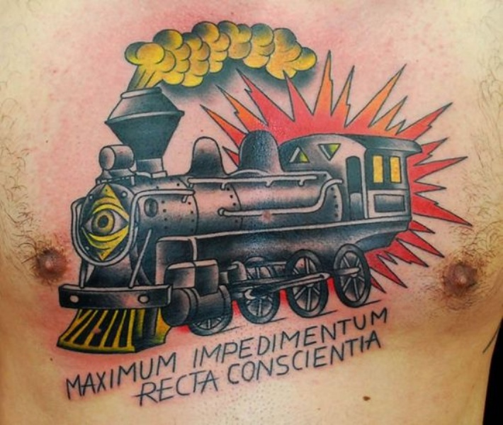 Train memorial colored tattoo on upper arm  with lettering