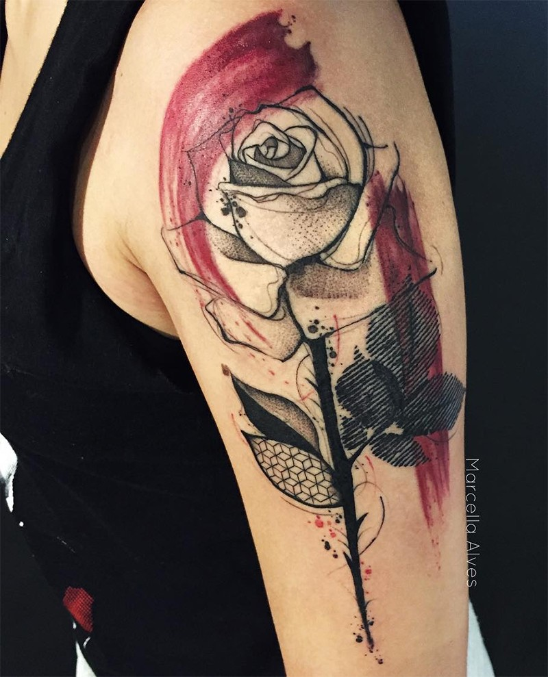 Trash polka style colored upper arm tattoo of black rose